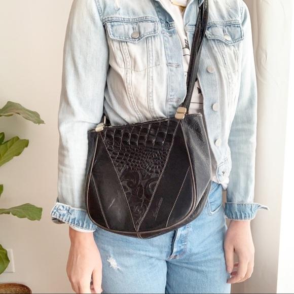 VTG Luigi Sciorio Black Leather Shoulder Bag